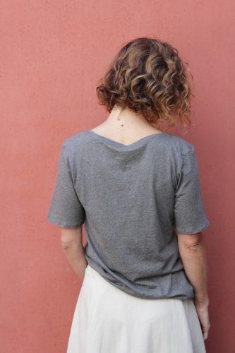 8 V-Neck T-Shirt Grey Marle Kowtow Stockist Sydney Australia Poepke 1
